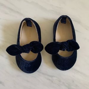 Gymboree Navy Blue Velvet Bow Flats